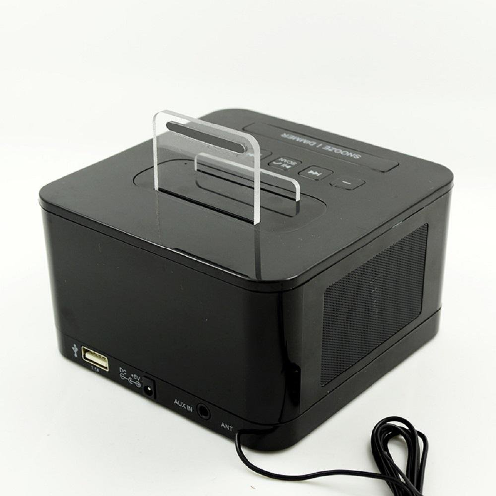 QQA Reloj de Cabecera Radio FM Altavoz Bluetooth Cargador de Teléfono Celular: Amazon.es: Hogar