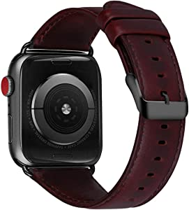 MroTech Leather Band Compatible with Apple Watch Band 42mm 44mm Genuine Leather Straps Replacement for iWatch Series 4 Series 5 Series 6/SE 44mm and 42mm Series 3 2 1 Bracelet Reddish Brown