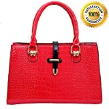 Handbags for Women - Designer Handbags - Classic Embossed Crocodile Office Ladies Handbags Satchel Tote Bag - PU Leather