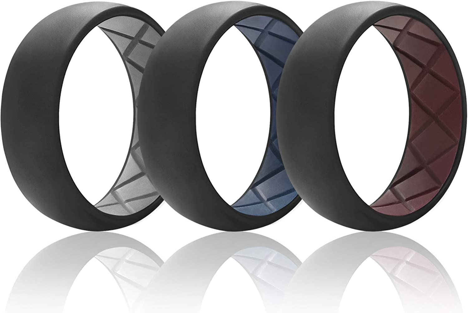 Egnaro Inner Arc Ergonomic Breathable Design with Dual Color,Silicone Wedding Ring for Men,Breathable Mens Rubber Wedding Bands for Athletes Fitness Workout
