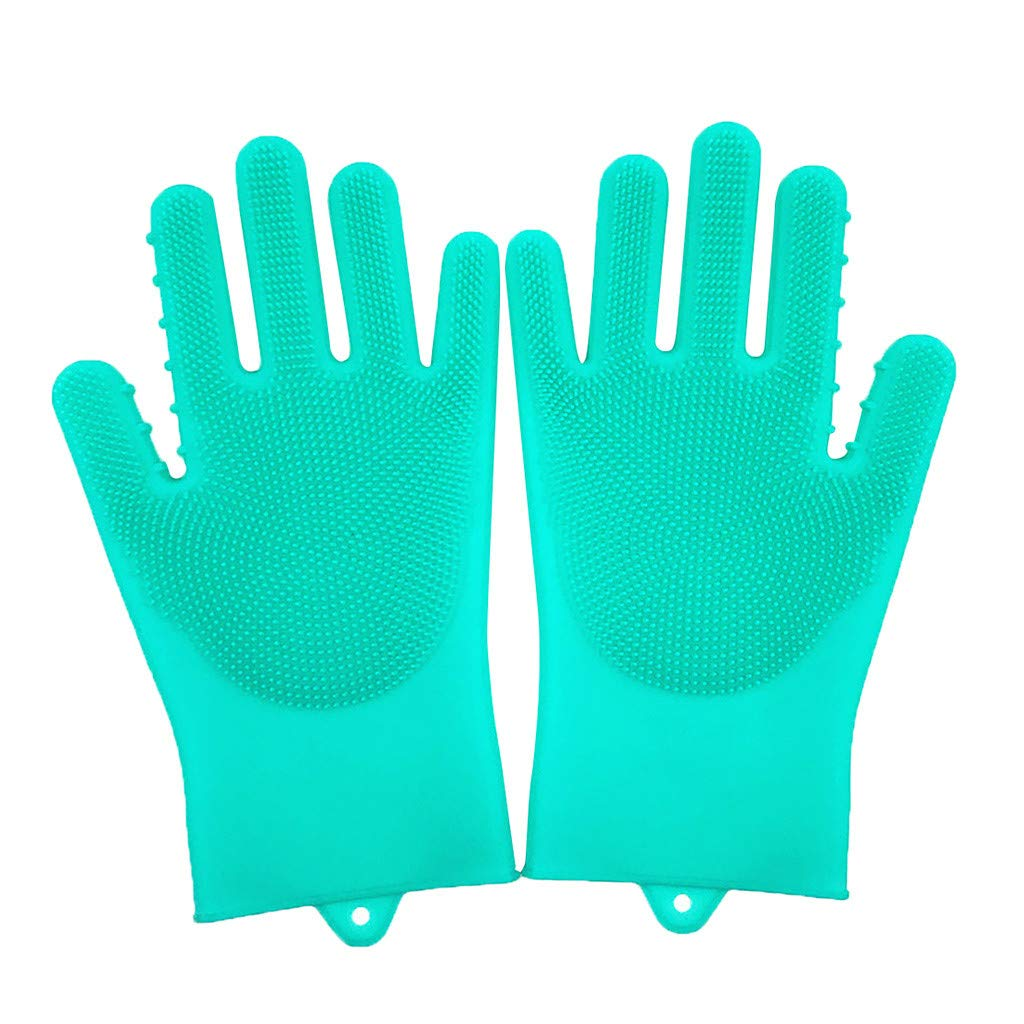 Pulison Rubber Gloves Cleaning Brush Scrubber Gloves Heat Resistant Grilling Gloves Heat Resistant Gloves BBQ Kitchen Rubber Oven Mitts Long Waterproof Non-Slip Gloves (Green)