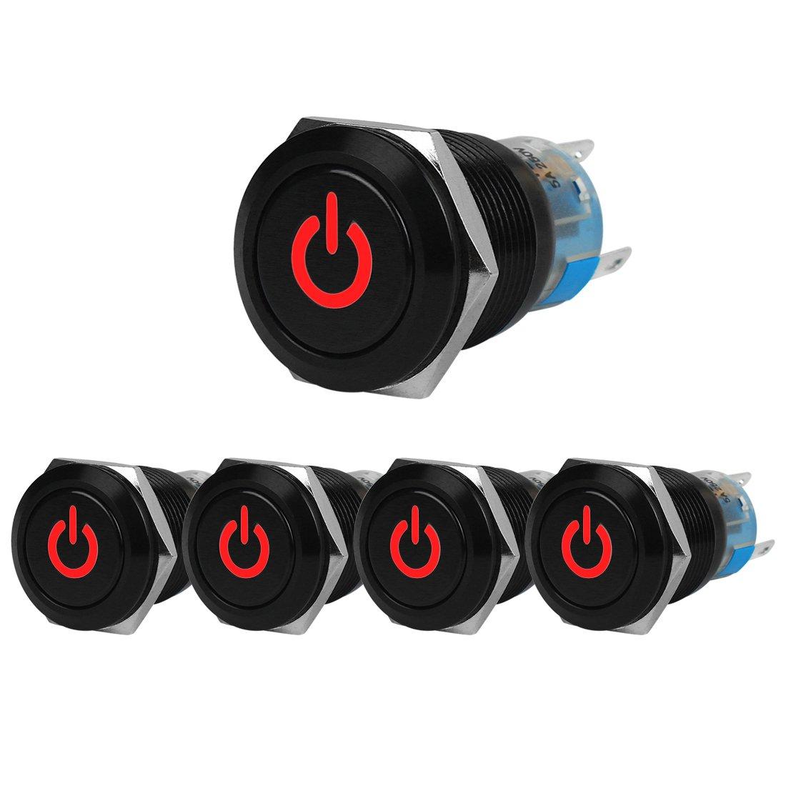 DIY 12V Elektrische Schalter,Verriegelung,Schwarz,Energiesymbol,Wasserdicht,5 St/ück JSANKG-11 Licht Blau Larcele 19mm Druckschalter mit Kontrollleuchte
