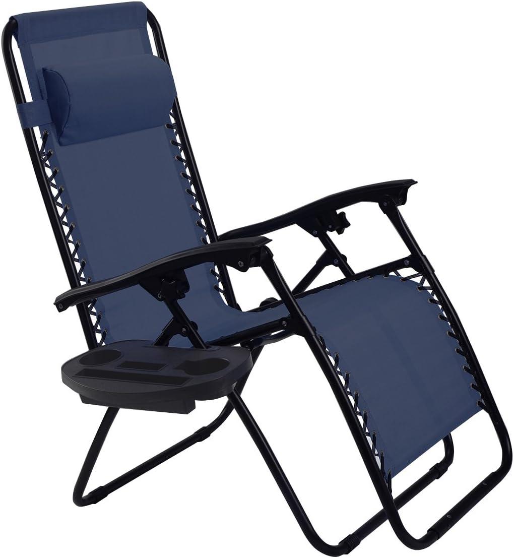 Goplus Folding Zero Gravity Reclining Lounge Chairs Outdoor Beach Patio W Utility Tray Navy