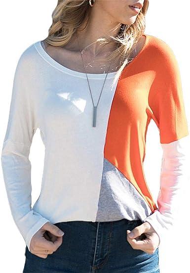 Morbuy Mujer Sudaderas, Otoño Manga Larga Blusa Tops Sencillo Cool Casual Linda Loose Sudadera Camisa De Slim De Cuello Redondo Fitting Adolescente Deporte (M, Blanco + Naranja): Amazon.es: Ropa y accesorios