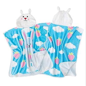 Poncho de toalla de baño con capucha para niños Lindos conejos con oreja Niños Albornoz Algodón ...