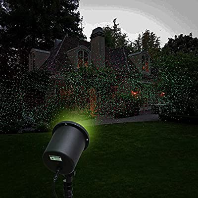 ZJKC® 6-watt Distance Controlled Outdoor Waterproof Red & Green Laser Landscape Projector Light Automatic 2 Color Sparkling Christmas Light Garden Tree or Backyard Decoration Lights