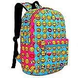 Zicac Children Students Canvas Emoji Backpack Smiling Face Satchel Printed Emoji Kids School Bookbag (12''x6.7''x15.7'', Blue)