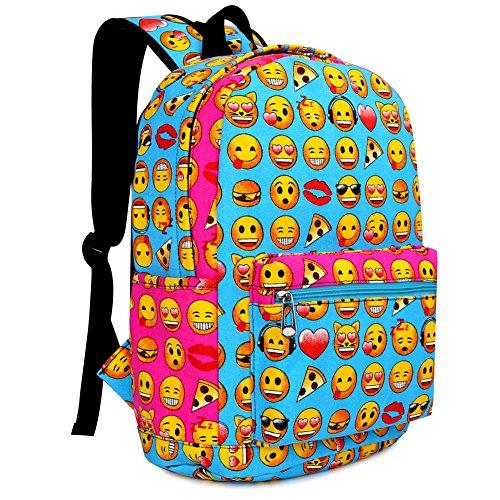 Zicac Children Students Canvas Emoji Backpack Smiling Face Satchel Printed Emoji Kids School Bookbag (12''x6.7''x15.7'', Blue) by Zicac