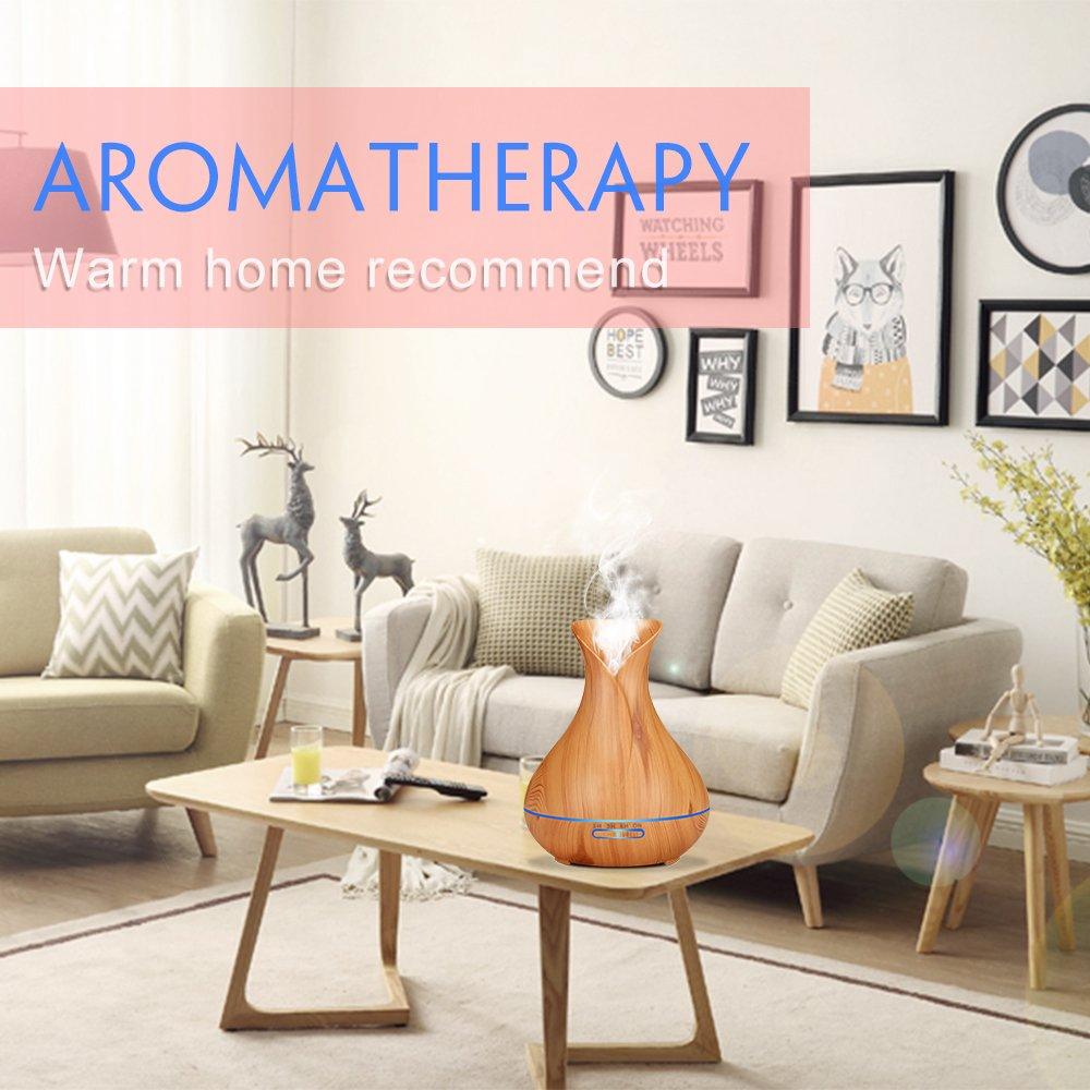 Sealive 400ml Humidificador de Aromaterapia Ultras/ónica Difusor de Aceite Esencial de Niebla Fr/ía 7-Color LED y 4 Ajustes de Tiempo Perfecto para Oficina Casa Dormitorio Sala de Estar de Madera