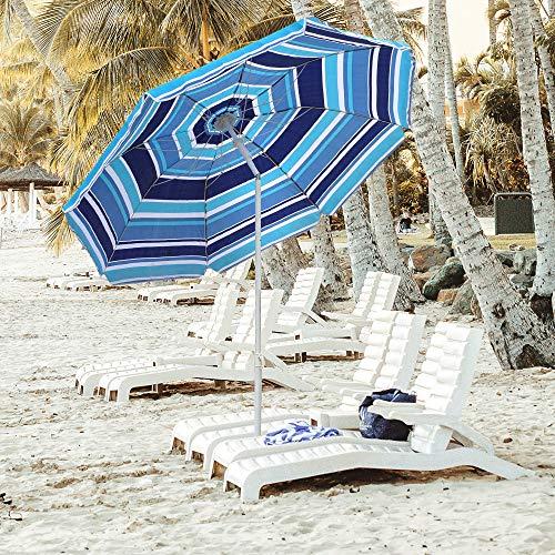Snail Beach Umbrella, 6.5ft Sand Anchor with Tilt Aluminum Pole, Portable Sun ray Protection Beach Umbrella with Carry Bag for Outdoor Patio, Blue Stripes ()
