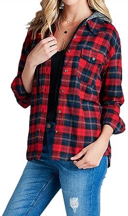 b396d0a819b9e Belle Donne Women Button Up Shirt Plaid Red Blue Shirts Check Flannel Shirt  - Black