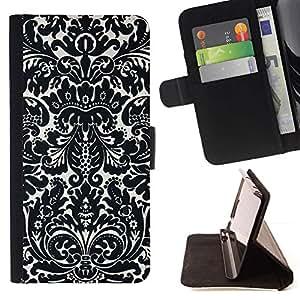 For Sony Xperia Z1 Compact / Z1 Mini (Not Z1) D5503 Case , Poker Gambling Diseño floral Blanco Negro- la tarjeta de Crédito Slots PU Funda de cuero Monedero caso cubierta de piel