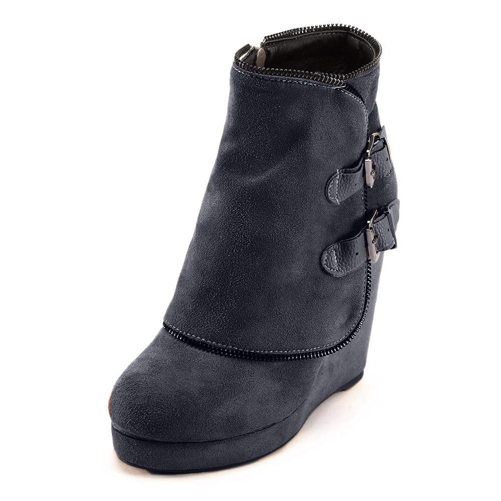 Hunzed Women Shoes Winter Buckle Suede Platform Ladies Retro high Heel Wedge Ankle Boots (Black, 9.5)