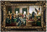 Historic Art Gallery Scene At the Signing of the Constitution of the United States 1940 by Howard Chandler Christy Framed Canvas Print, 12'' x 20'', Gold and Black Gallery