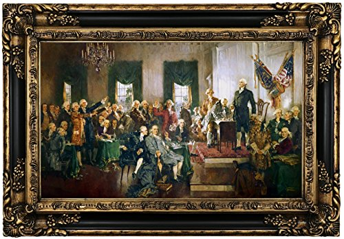 Historic Art Gallery Scene At the Signing of the Constitution of the United States 1940 by Howard Chandler Christy Framed Canvas Print, 12'' x 20'', Gold and Black Gallery by Historic Art Gallery