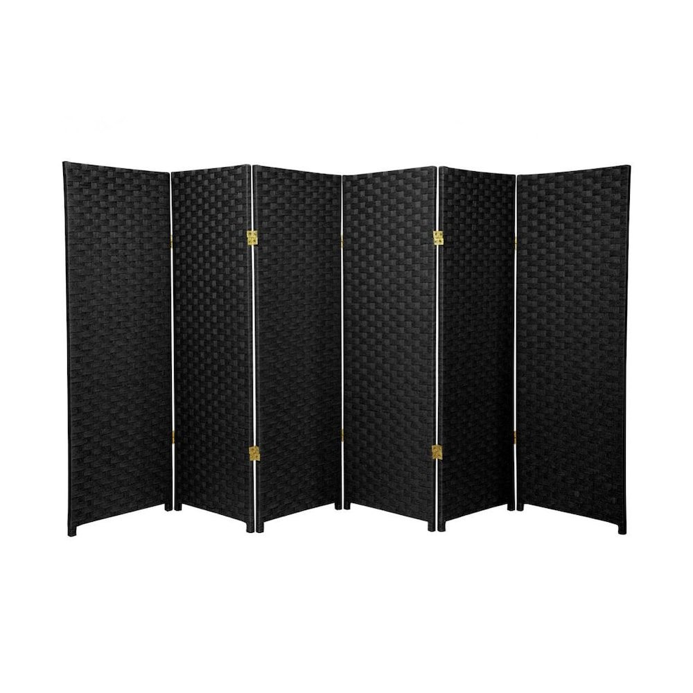 MD Group Room Divider Woven Fiber 4-ft Tall 6-Panel Black Foldable Double Sided Lightweight