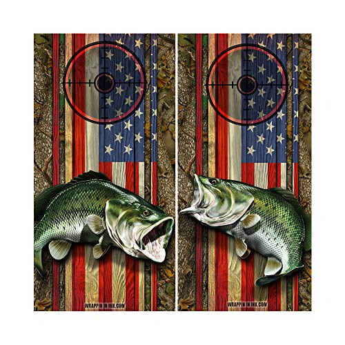 Decals N Designs American Flag Bass Fish 1&2 Mirrored Forest Wood Laminated Cornhole Board Wraps ~ Set of 2
