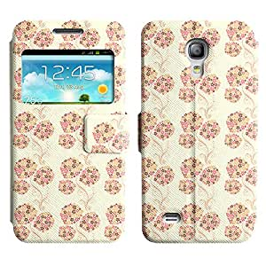 AADes Scratchproof PU Leather Flip Stand Case Samsung Galaxy S4 MINI ( Pink Flowers )