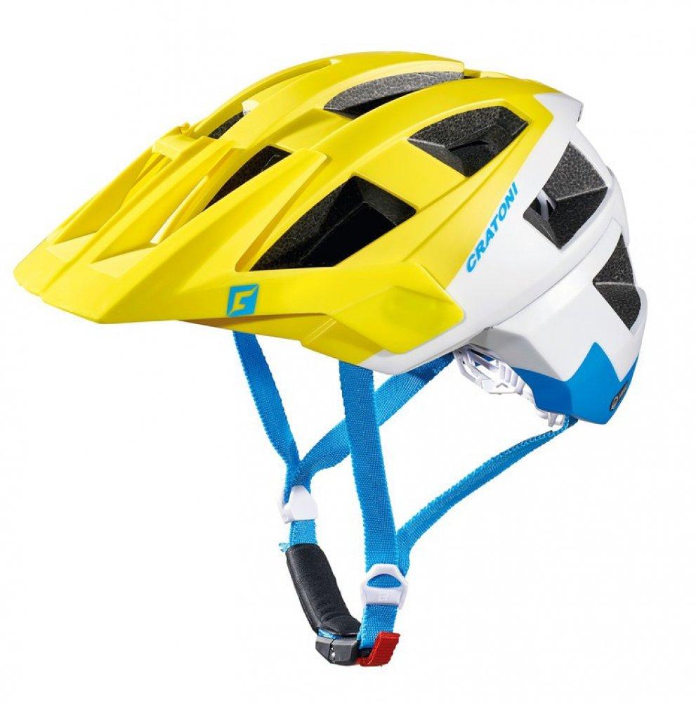 Fahrradhelm Cratoni AllSet (MTB), Gr. S M (54-58cm) lime weiß blau matt