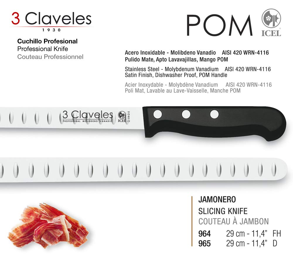Juego de Cuchillos Profesionales 3 Claveles Selección Master Chef, Jamonero Alveolado 29 cm, Deshuesador 15 cm y Funda Protectora
