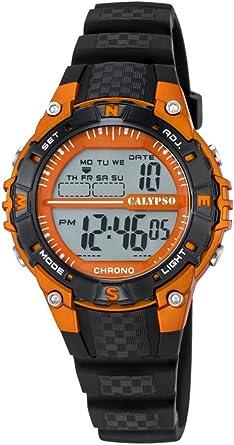 Calypso–Reloj Digital Unisex con LCD Pantalla Digital Dial y Correa de plástico en Color Negro K5684/7