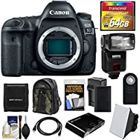 Canon EOS 5D Mark IV 4K Wi-Fi Digital SLR Camera Body with 64GB CF Card + Battery & Charger + Backpack + Flash + Soft Box + Kit