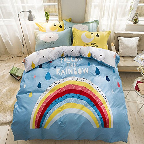 Cartoon Bedding Set 4 Piece Bedding Set Kids Duvet Cover Set Rainbow Pattern Duvet Cover Bed Sheet and Pillowcases,No Comforter,Queen Size (5) (Monster Bedspread High)