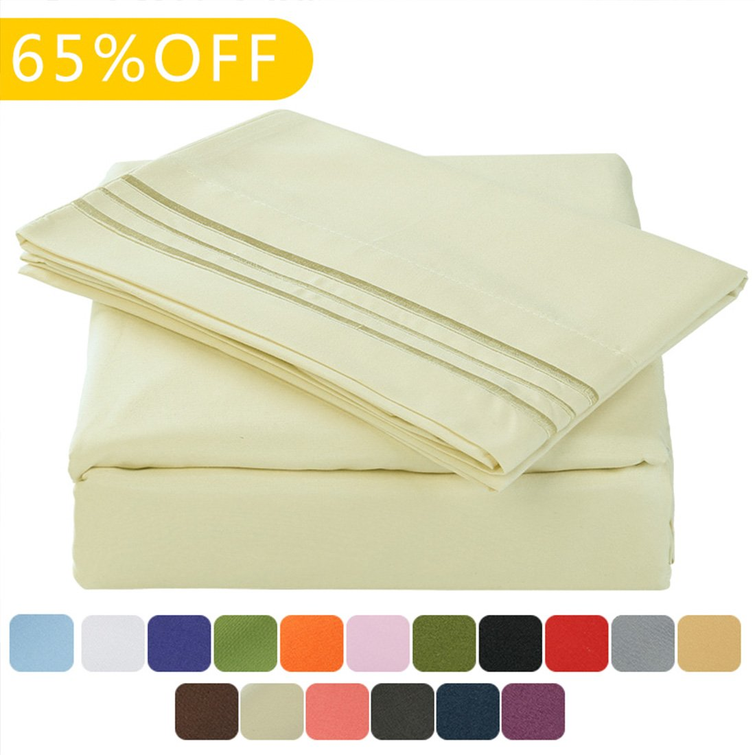 Microfiber 1800 Bedding Sheets Wrinkle, Fade, Stain Resistant - 4 PieceIvory,Full