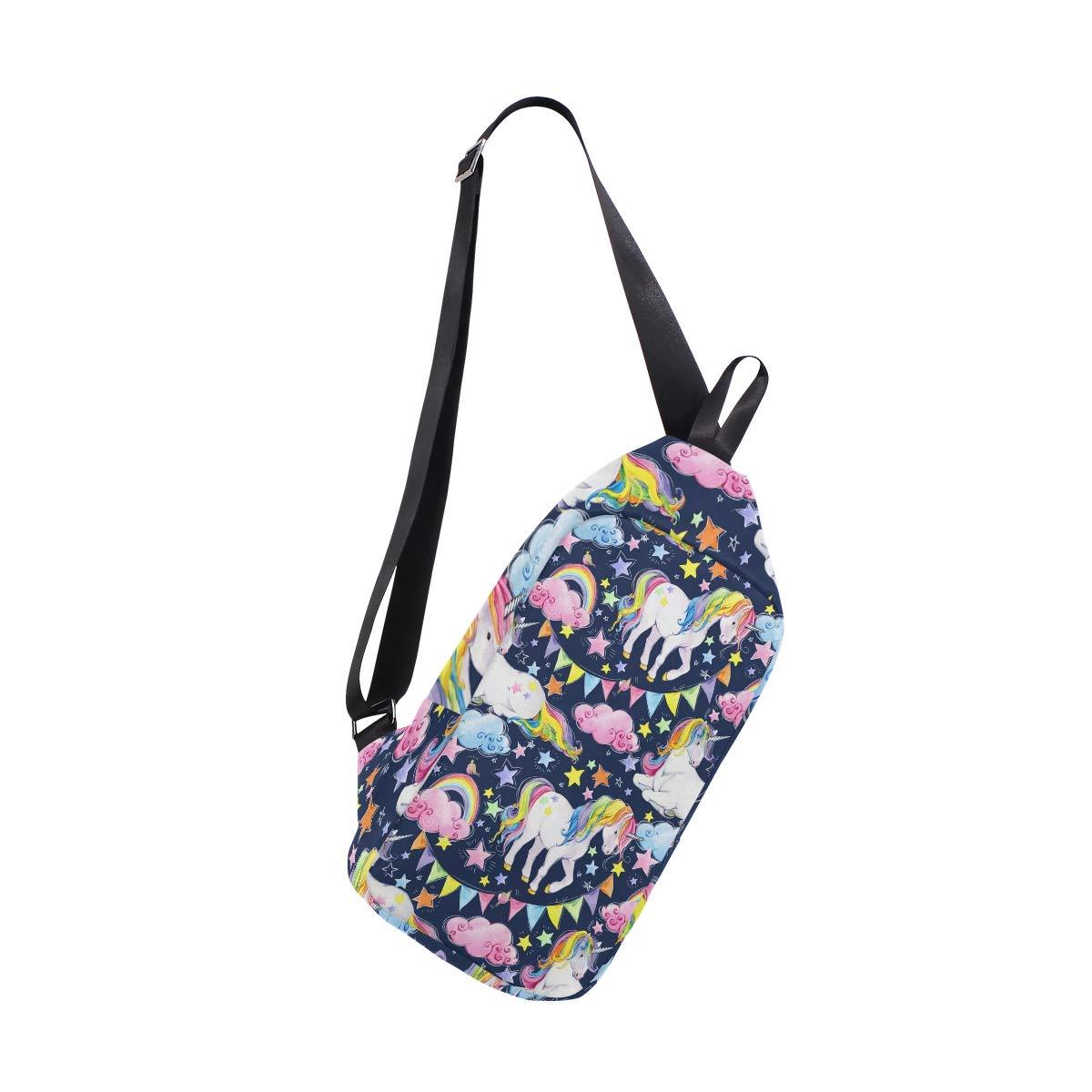 TFONE Cute Rainbow Unicorn Crossbody Bag Lightweight Chest Shoulder Messenger Pack Backpack Sling Bag