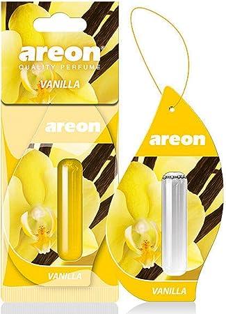 Areon Liquid Auto Lufterfrischer Vanille Duft Autoduft Duftflakon Parfüm Flakon Aufhängen Hängend Anhänger Spiegel Gelb 5ml 3d Vanilla Pack X 1 Auto