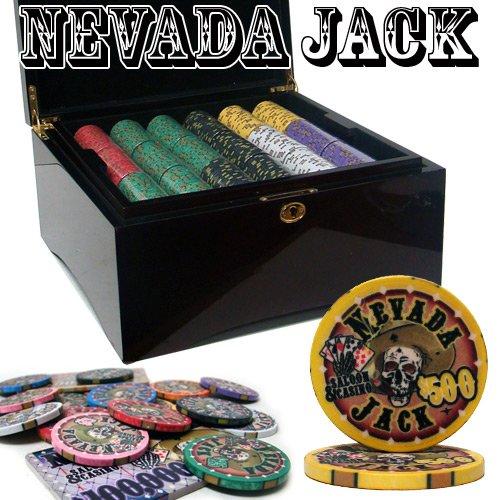 750 Ct Nevada Jack 10 Gram Ceramic Poker Chip Set w/ Mahogany Wooden Case by - Mahogany Poker Set