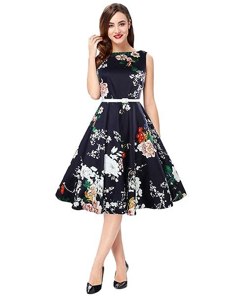 DDSOL 50s Damen Kleider Retro Vintage Rockabilly Kleid Partykleider ...