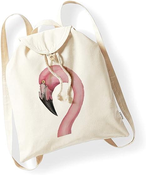 bubbleshirt Mochila de algodón orgánico Flamenco Rosa – Flamingo – Summer – evento – idea regalo – de Algodón (10 x 16 x 2, Bianco, Small: Amazon.es: Deportes y aire libre