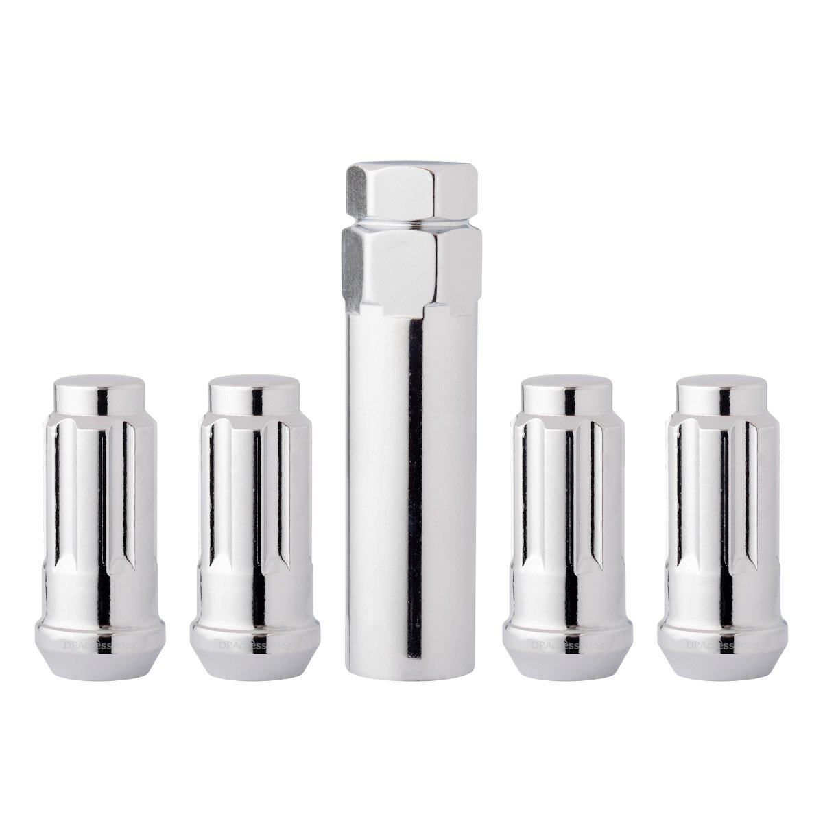 DPAccessories LCS4N8HC-CH04LK4 Chrome Wheel Locks 14x1.5 Closed End XL Spline Tuner Locking Lug Nuts - Dual Hex Wheel Lock Set