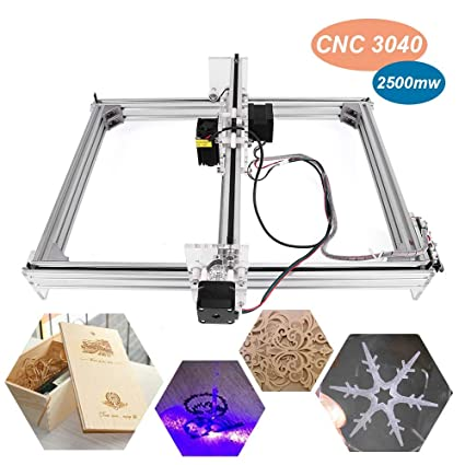 2500mw Laser CNC Engraving Machine, Tsemy Direct DIY 3040 CNC Machine  Precison 0 1mm with USB Interface, Carving Machine for Leather Wood  Plastic,