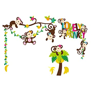 Monkey Wall Decals   Nursery Wallpaper   Baby Art Decoration   Kids Room  Decor
