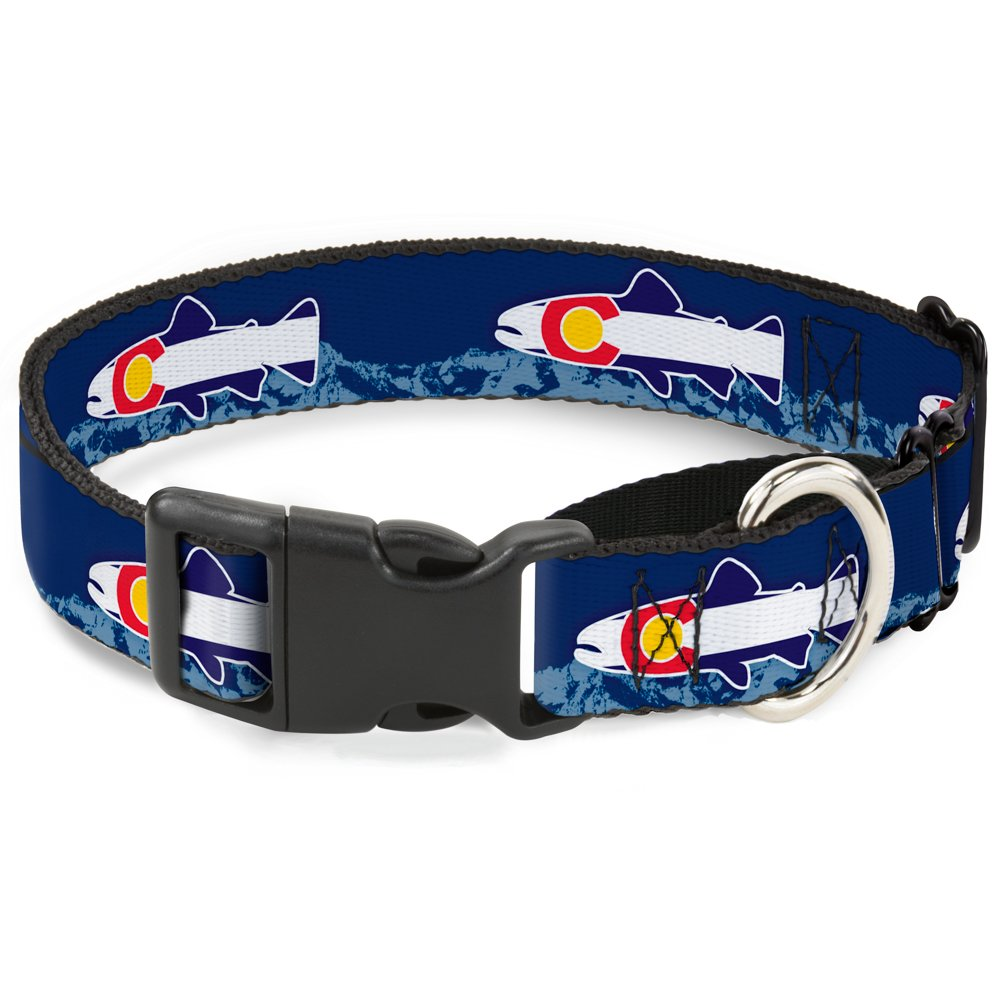 colorado Trout Flag bluee White Red Yellow 18\ colorado Trout Flag bluee White Red Yellow 18\ Buckle-Down MGC-W35580-WL Martingale Plastic Clip Collar-colorado Trout Flag bluee White Red Yellow, 18 -32