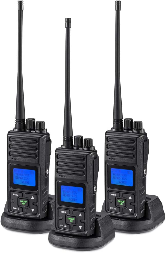 2 Way Radio 5 Watt Long Range, SAMCOM 20 Channels Walkie Talkie,Rechargeable Hand-held UHF Business Radio for Outdoor Hiking Hunting Travel,3 Packs