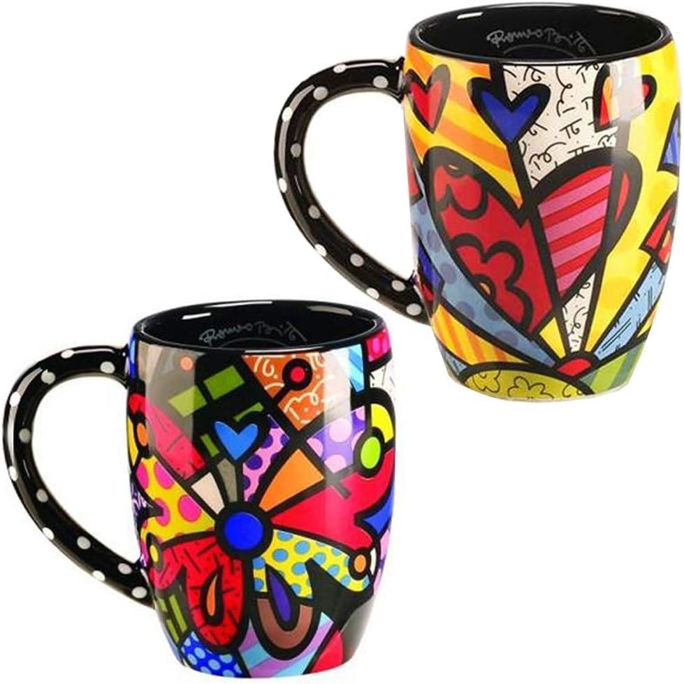 Romero Britto Mug — Clear Glass Latte Mug with Flowers Design in Britto Gift Box