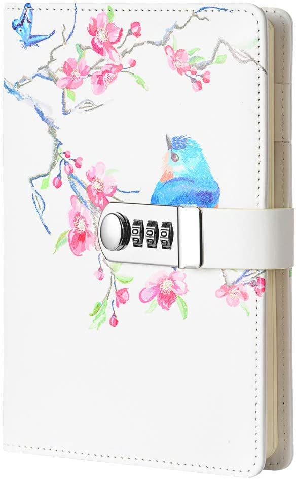 JunShop Creative Password Lock Journal Diary Digital Locking Diary Notepad Book Combination Journal Diary with lock A5 Planner Cover (Style 5)