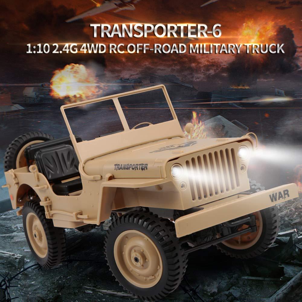 Goolsky JJR//C Q65 RC Milit/är Truck 1:10 4WD Ferngesteuertes LKW Spielzeug Auto mit Fernbedienung Beste Geschenkeidee f/ür Kinder