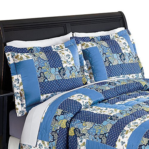 caledonia blue floral patchwork pillow