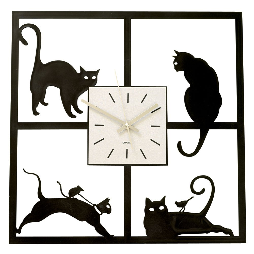 Bits and Pieces-Cat In The Window-Cat-themed Hanging Wall Clock Great Home Décor Gift - Measures 17-5/8'' Square