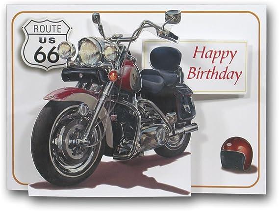 Pictoria Press Carte D Anniversaire Motif Moto Harley Davidson 3d Amazon Fr Fournitures De Bureau