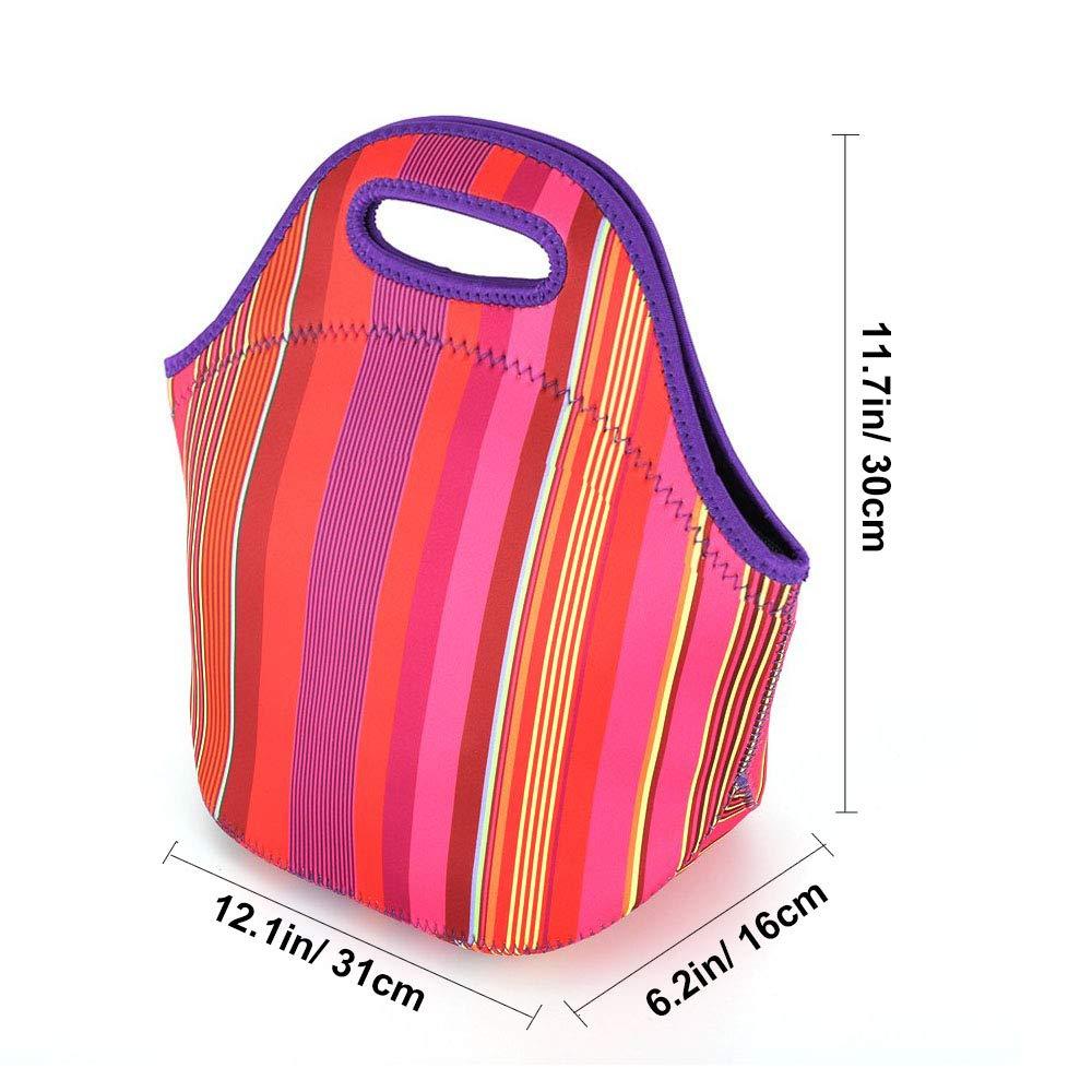 Goter Bolsa Porta Alimentos Neopreno Bolsa Almuerzo T/érmica Plegable Bolso Fiambreras Lunch Bag para Adulto Mujer Ni/ños Trabajo Oficina Playa Viaje