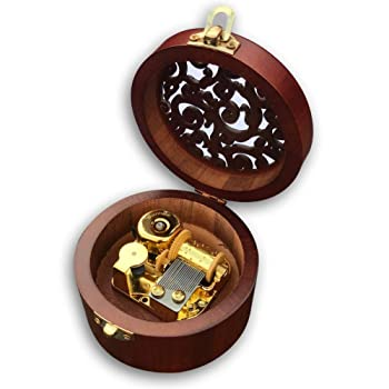 Play (Hedwigs Theme) Brown Wooden Circular Hollow Out Music Box