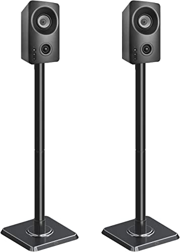 Mounting Dream Speaker Stands – Bookshelf Speaker Stands for Bose, Polk, JBL, KEF, Sonos, Sony and Others, Set of 2 Satellite Speaker Stands with Wire Management 11LBS Capacity Per Stand