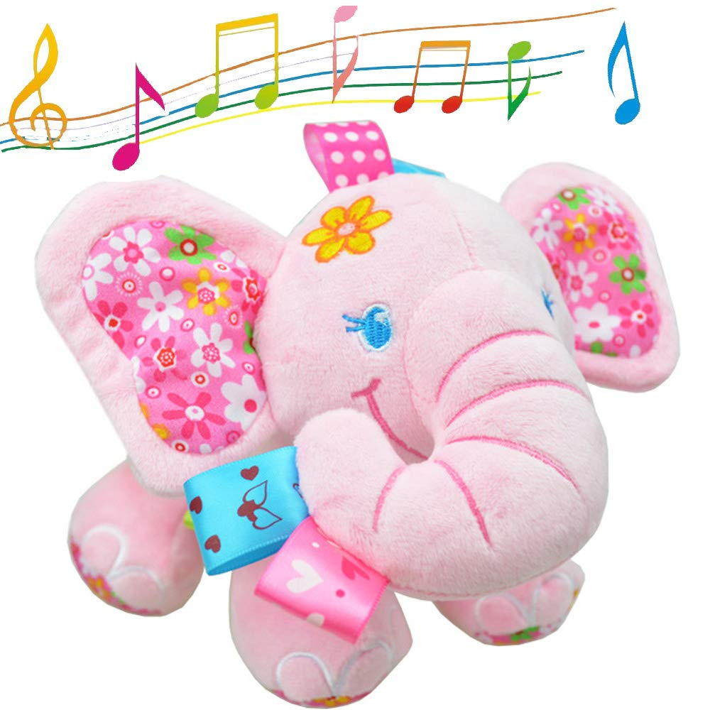 V Convey Music Bed Time Elephant Stuffed Animal Toys Kids Toddler Plush Baby Infant Strollers Crib Bedding Toys by V Convey