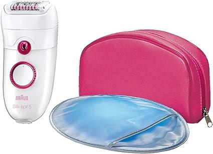 Braun Silk-épil 5 - Depiladora para mujer con 3 accesorios: masaje, guante de frío y funda rosa, color blanco y rosa: Amazon.es: Belleza