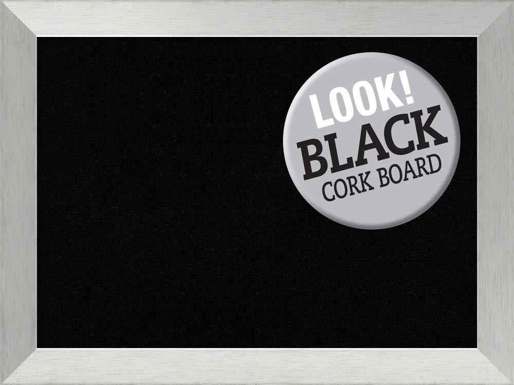 Amanti Art Large, Sterling Outer Size 32 x 24 Framed Black Cork Board LG, Brushed Silver